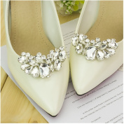 Casualfashion 2 Pcs Charming Women's Crystal Rhinestone Shoe Clips Double Buckles Shoes Decoration for Wedding Party