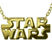 Star Wars Text Logo Necklace Gold Finish Rock Rebel Officially Licenced Product