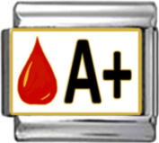 BLOOD GROUP TYPE A+ Enamel Italian Charm 9mm Link - 1 x MA008 Single Bracelet Link
