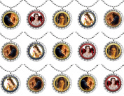 15 BEAUTY AND THE BEAST The Movie Flat Bottle Cap Necklaces for Birthday, Party Favour Set 2