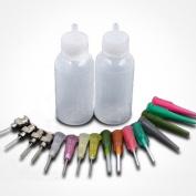 NationinFashions Precision Bottle Applicator sets (2 Bottle of 30ml each + 16 Blunt Tips) for Art & Crafts