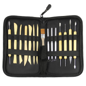 Clobeau Sculpting Tools 15-Piece Pottery Clay Ceramics Art Tools Set Wood Handle for Carving Modelling Cleaning with Zipper Carrying Case
