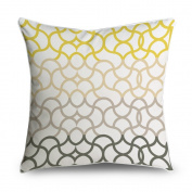 FabricMCC Moroccan Quatrefoil Yellow and Taupe Square Accent Decorative Throw Pillow Case Cushion Cover 18x18