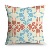 FabricMCC Damask Pattern Light Blue and Orange on Cream Square Accent Decorative Throw Pillow Case Cushion Cover 18x18