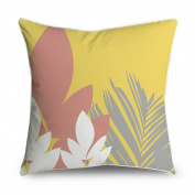 FabricMCC Tropical Palm Trees Leaf on Yellow Square Accent Decorative Throw Pillow Case Cushion Cover 18x18