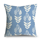 FabricMCC Mid-Century Modern Leaf on Light Blue Pattern Square Accent Decorative Throw Pillow Case Cushion Cover 18x18
