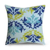 FabricMCC Vintage Floral Damask Blue Yellow Square Accent Decorative Throw Pillow Case Cushion Cover 18x18