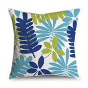 FabricMCC Tropical Floral Leaf Blue Square Accent Decorative Throw Pillow Case Cushion Cover 18x18