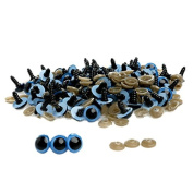 Ioffersuper 100pcs 8mm Plastic Safety Eyes For Teddy Bear Doll Animal Puppet Craft Blue