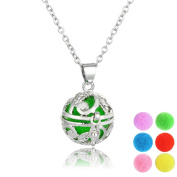 Kloud City Silver Colour Spherical Essencial Oil Perfume Aromatherapy Necklace Padent