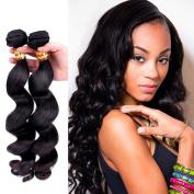 Bellishe Hair Extensions Humam Hair Brazilian Virgin Hair one Bundles 100% Unprocessed Loose Wave Hair Bundles Remy Hair Natural Colour Length 30cm