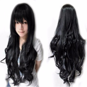 80cm Black Curly Cosplay Wigs Full Head Hair Wig Grade 7A Heat Resistant Hair Fall for Halloween Costume Party UPS Post