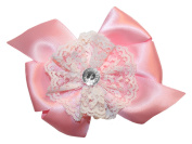 WD2U Girls Vintage Satin & White Lace Hair Bow Alligator Clip True Pink 6038A