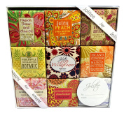 French Milled Botanical Soap Sampler Set in Nine Fabulous Scents, Individually Wrapped Vegetable Based Mini Soaps with Essential Oils, Shea Butter and Natural Extracts