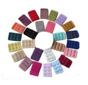 Ewandastore Assorted Colours Women 2 Hook 3 Rows Spacing Bra Extender Strap,28 Packs