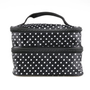 UEETEK Women Cosmetic Makeup Bag Double Layer Polka Dot Pattern Toiletry Pouch Organiser with Hand Strap for Travelling Black