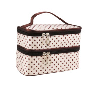 UEETEK Women Cosmetic Makeup Bag Double Layer Polka Dot Pattern Toiletry Pouch Organiser with Hand Strap for Travelling Beige