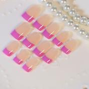 Shiny Beige French Nails Medium Flat Rose Red Natural Fake Nail Tips Press On Nails 24pcs kit Z311