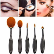 Nuobo 5pcs Oval Foundation Makeup Brush Sets Powder Blusher Toothbrush Curve Cosmetic Makeup Brushes Tool Kits Black