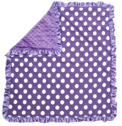 Dear Baby Gear Baby Blankets, Polka Dots White on Orchid, Orchid Lavender Minky