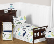 Navy Blue and Green Modern Dinosaur Boys or Girls Piece Toddler Bedding Comforter Sheet Set