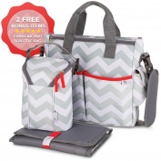 Baby Nappy Bag Chevron - Bottle Bag & Changing Mat - 13 Pockets Premium Nappy Bag, Baby's Organiser Weekender Baby Bag Tote - Best Baby Shower Gift for Mom and Dad
