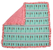 Dear Baby Gear Baby Blankets, Arrows on Mint Green, Pink Minky