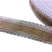 Jute Burlap Ribbon Roll with White Lace 2.5cm Width 5 Yards Long for Party Wedding Cake Holiday Craft Decoration