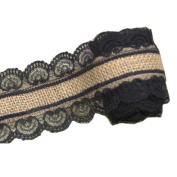 Jute Burlap Ribbon Roll with Black Lace 2.5cm Width 2 Yards Long for Party Wedding Cake Holiday Craft Decoration