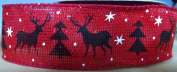 Red Christmas Ribbon Woodland Scene Burlap Ribbon - 9.1m