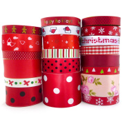 Smart Buy Satin Ribbon for Craft Cartoon Red Theme Mixed Colours 20 Yards Contains 20 Different 1 Yard Ribbon