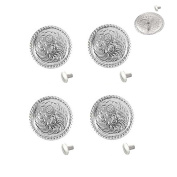1 Set of Silver Bright 2.5cm Round Conchos W/ 0.6cm Chicago Screw back