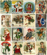Victorian Vintage Children Christmas Card Collage Sheet 22cm x 28cm