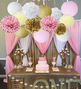 Wcaro 15pcs Mixed Pink Gold White Party Decor Kit Paper lantern Paper Star Garland Tissue Pom Poms Hanging Flower Ball for Wedding,Birthday,Baby,Bridal Shower,Room decor & Themed Party Decoration Favour