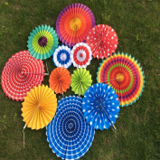 X-Sunshine Outdoor Indoor 12pcs Mixed Colours & Sizes Round Folding Hanging Paper Fan Fiesta Wedding Birthday Kids Party Supplies for Christmas Tree Home Decoration, Party, Wedding