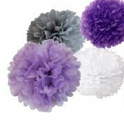 12pcs 20cm 25cm 36cm Mixed Lavender Purple Grey White Tissue Pom Poms Paper Flower Wedding Bridal Shower Party Fluffy Decoration