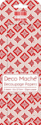 Red Geometric Xmas Deco Mache x 3 Tissue Patch Paper Sheet First Edition Craft