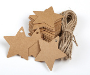GUZON 150 Piece Brown Star Shaped Kraft Paper Gift Tags with 30m Natural Jute Twine