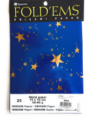 """Origami paper blue foil paper with gold metallic stars 25 sheets 15cm x 15cm (5 7/8"""" square) made in Germany"""