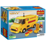 COGO Postal Express Car Delivery Service Truck Vehicle with Little People Playset Build Blocks Toy Kit for Kids Yellow 178 Bricks CG4107