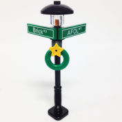 Lego Minifigure Holiday City/Town Street Sign and Lamp Post - Corner of AFOL & BRICK