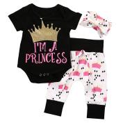 3pcs Newborn Infant Baby Girls Romper+Pants+Headband Legging Home Outfits Set