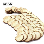Fuhaieec 50pcs 5.1cm - 6.1cm Unfinished Natural Wood Circles with Tree Bark Log Discs for DIY Craft Christmas Rustic Wedding Ornaments