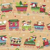 Christmas Train Kraft Gift Wrap Roll 60cm x 15