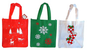 Set of 3 Non-Woven Reusable Fabric Holiday Gift Bags 30cm x 33cm x 8.60cm , Black Duck Brand Three Holiday Prints