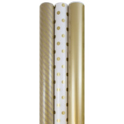 JAM Paper® Premium Wrapping Paper Set - 7sqm - Gold Collection - 3 rolls/pack