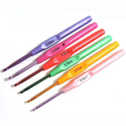 Shopline 6 Different Sizes Crochet Hooks, Plastic Handle Knitting Needles Tool for Weave Craft, DIY Clothes, Hats, Lines / Random Colours