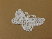 CraftbuddyUS 4 x Vintage White Large Butterfly Lace Motifs Patches Sewing Sew on Stick on