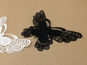 CraftbuddyUS 4 x Vintage Black Large Butterfly Lace Motifs Patches Sewing Sew on Stick on