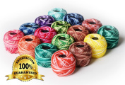 LE PAON Soft 10g Cotton Balls Rainbow Colours of Size 8 Perle/pearl Cotton Threads for Crochet, Hardanger, Cross Stitch, Needlepoint Hand Embroidery. All Different Colours